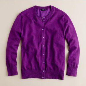 J. Crew Cotton Jackie Cardigan Sweater in Purple